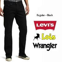 Celana Jeans Panjang Reguler Straight Full Hitam / Black (28-32)