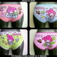 Celana Dalam Anak Kotakan Isi 3 Gambar Melody (merk Jessie N Mike).