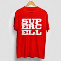 Kaos Supercell COC clash of clans logo Merah Sablon putih