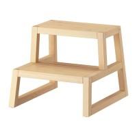 IKEA MOLGER Bangku tangga, kayu birch atau coklat tua