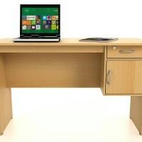 Meja Kantor dengan Laci Coklat Muda