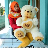 Jual Boneka Teddy Bear I Love You Besar Jumbo Cream Coklat 75 cm Murah