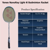 Yonex Nanoray Light 4i, 5U-G4 Badminton Raket (White/Blue) ! 100% ORI