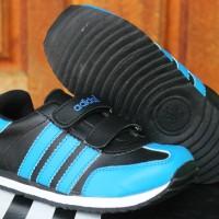 Sepatu Anak Adidas LA Trainer Kids Hitam Biru (Sekolah,Balita,Running)