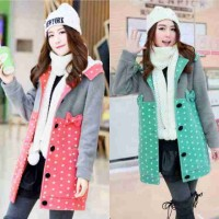 Long Jaket Polka Bahan Babytery Allsize Fit To L+