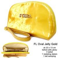 DOMPET WANITA CASUAL FL OVAL JELLY SUPER GOLD