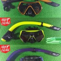 Alat Snorkling Paket Kacamata Dan Snorkel Karet Nya Bagus Hitam