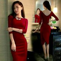 harga dress korea lowback redcherry Tokopedia.com