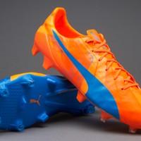 Sepatu Bola Puma Evospeed SL Tricks FG Blue Orange Grade Ori