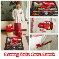 Sarung Dan Baju Koko Set Size Xl (9-10th)cars,spider,avenger,transform