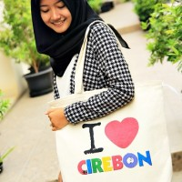 Premium Canvas Tote Bag - BC0318 I Love Cirebon