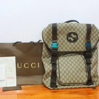JUAL TAS RANSEL BACKPACK GUCCI GG SUPREME CANVAS BACKPACK LARGE COKLAT