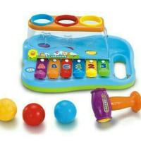 Mainan Edukatif / Edukasi Anak Xylophone 2 In 1 Dengan Pemukul Bola