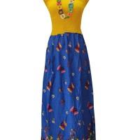 Kampung Souvenir - Long Dress Kerut Dada - Yellow Blue Butterfly