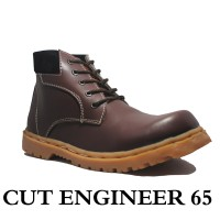 Cut Engineer Safety Boots Gravel Leather Brown