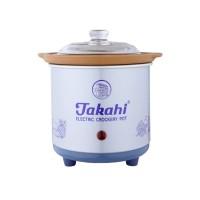 Takahi Slow Cooker 0.7 Liter Blue + Packing Kayu / Penghangat Makanan