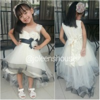 Black Accent Off White Kids Party Dress / Baju Pesta Anak Perempuan