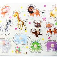 Jual Puzzle Kayu Pin Knob Knop Hewan Binatang Mainan Edukasi Anak PP-005 Murah