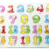 Puzzle Kayu Pin Knob Knop Angka 1 - 20 Mainan Edukasi Anak PP-012