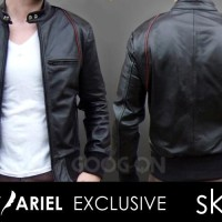 JAket Biker Leather Hitam Ariel