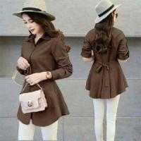 Blouse Xiaomi coklat HO Pakaian baju busana blus atasan wanita