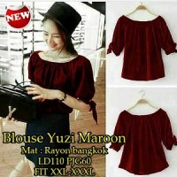 Blouse Yuzi Maroon SW Pakaian baju busana blus atasan wanita