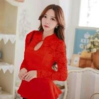 Blouse Yona Red AY Pakaian baju busana blus atasan wanita