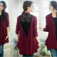 BL carolyn maroon YR Pakaian baju busana blouse blus atasan wanita