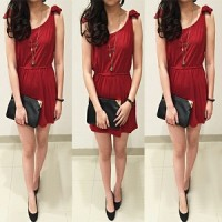 dress m07 redribbon DR Pakaian baju busana gaun wanita
