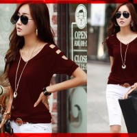V-neck Karen Maroon CL Pakaian baju busana blouse blus atasan