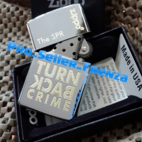 Zippo Super Premium Silver Custom TURN BACK CRIME ! Gratis Req Nama!