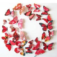 Jual hiasan 3D butterfly 1 set isi 12 ( wall sticker, wallpaper kupu kupu ) Murah