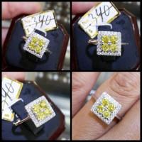 Cincin Berlian kuning ikat emas putih