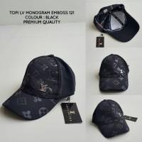 harga TOPI LV MONOGRAM EMBOSS BLACK 121 PREMIUM QUALITY | BASEBALL CAP HAT Tokopedia.com