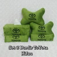 Set Car/bantal Mobil Toyota/hijau/hitam 3 In 1