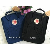 FJALLRAVEN KANKEN CLASSIC ROYAL BLUE & BLACK GRADE ORI