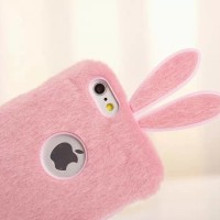 Casing Cover Hp Iphone 5 5s 6 Plus Rabbit Fur Original Case