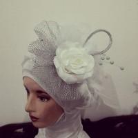 headpiece hijab pengantin / bisa jadi hairpiece pengantin simple white