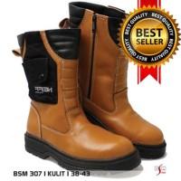 Jual Sepatu Boot Kulit Safety Pria BSM Soga BSM 307 Murah