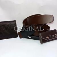 SEPAKET MURAH..!! Dompet kulit asli + ikat pinggang kulit selapi