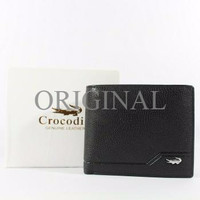 Dompet Pria Branded CROCODILE BLACK (Bahan Kulit Asli) ORI 100%