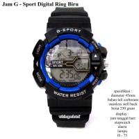 jam tangan pria G-sport digital ring biru fullset