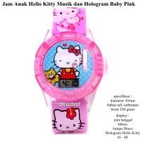 jam tangan anak hellokitty musik & hologram soft pink