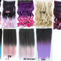 hair clip extension rambut palsu big single layer curly Gradasi ombre