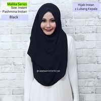 Pashmina Instan Malika Series Black | hijab vanilla ghaida sala osi hl