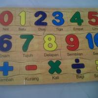Jual mainan kayu edukatif puzzle angka 1- 10 Murah