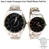 jam tangan pasangan guci nhail couple hitam fullset
