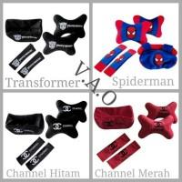 Jual Paket set Bantal Mobil 3 in 1 (Transformer, Channel, Spiderman) Murah
