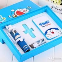 Jual Paket Kado Satu Set Power Bank Doraemon Tongsis dan Touch u Murah