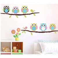 Hiasan Kamar Bayi Sticker Dinding Wallpaper Burung Owl Pohon Lucu